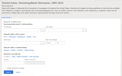 African Americans are Documented in FamilySearch.org Database: United States, GenealogyBank Obituaries, 1980 – 2014