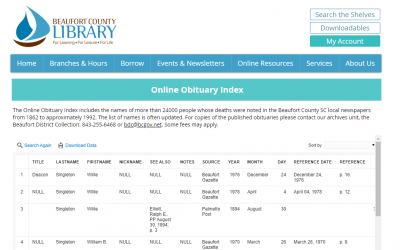 African American Genealogy: Look up Obituaries at Beaufort County, South Carolina Library Online