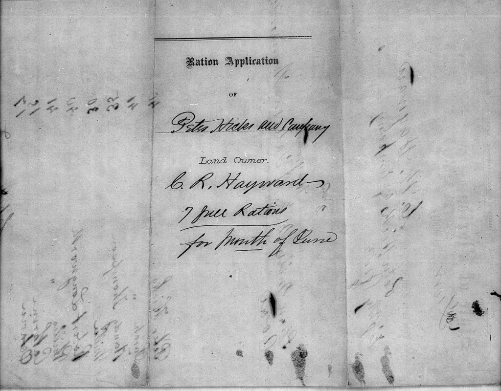 Florida Handy Thompson Freedmens Bureau Rations Request Cover Page