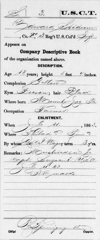 Civil War Service Record for Edward Stidum, Company F, 3rd USCT