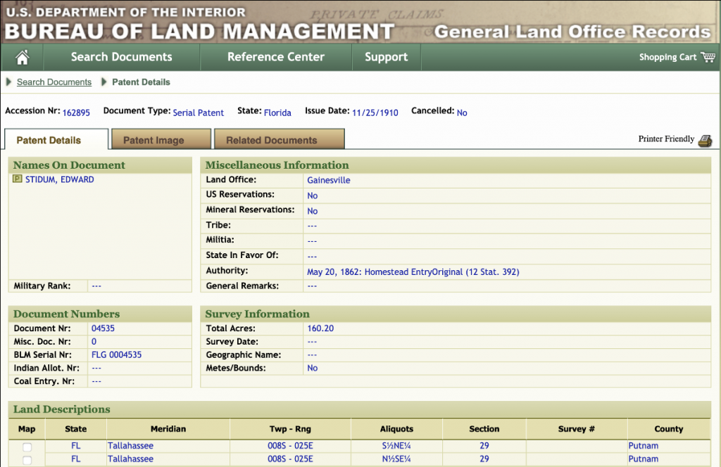 Land Patent Details, Edward Stidum in Florida