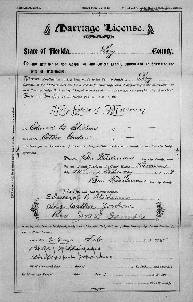 Marriage License, Edward Stidum and Esther Gordon, Levy County, Florida, 1908.