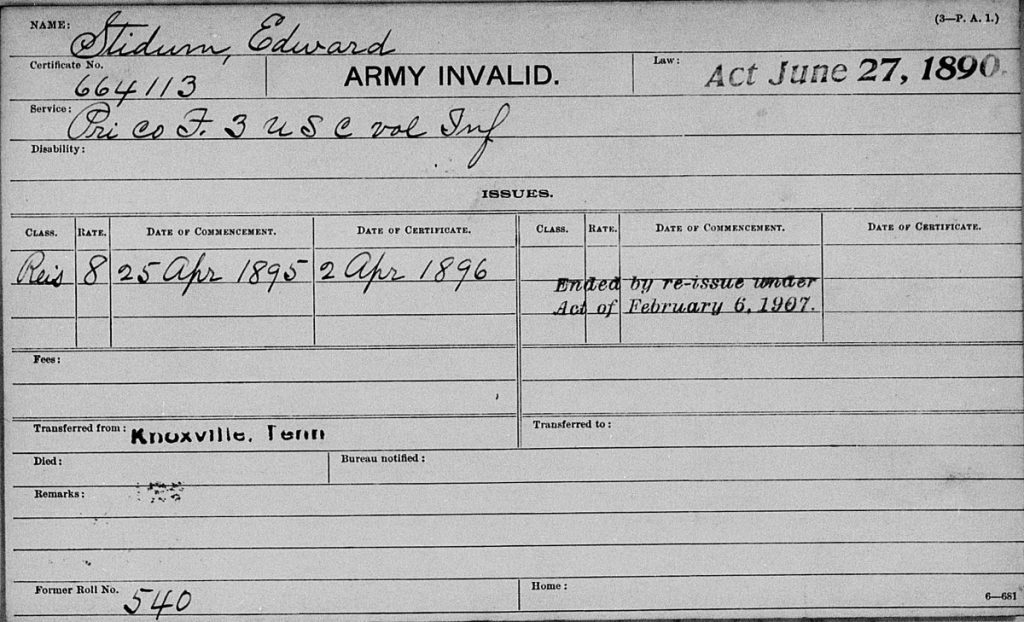 Veterans Administration Pension Payment Card for Edward Stidum, Company F, 3rd USCT