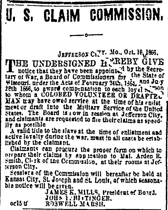 Advertisement for the Missouri Compensation Commission, Daily Missouri Republican Monday, Oct 22, 1866 St. Louis, MO, Page: 4