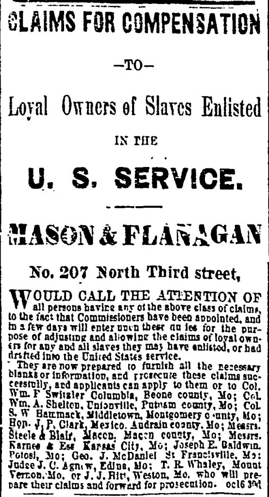 Advertisement for the Missouri Compensation Commission