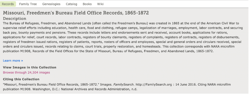 Missouri Freedmen s Bureau Field Office Records 1865-1872