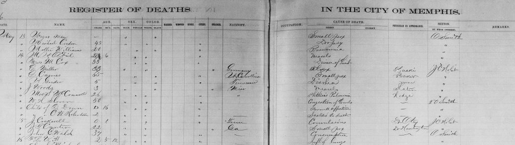 Example, 1905 Register of Deaths