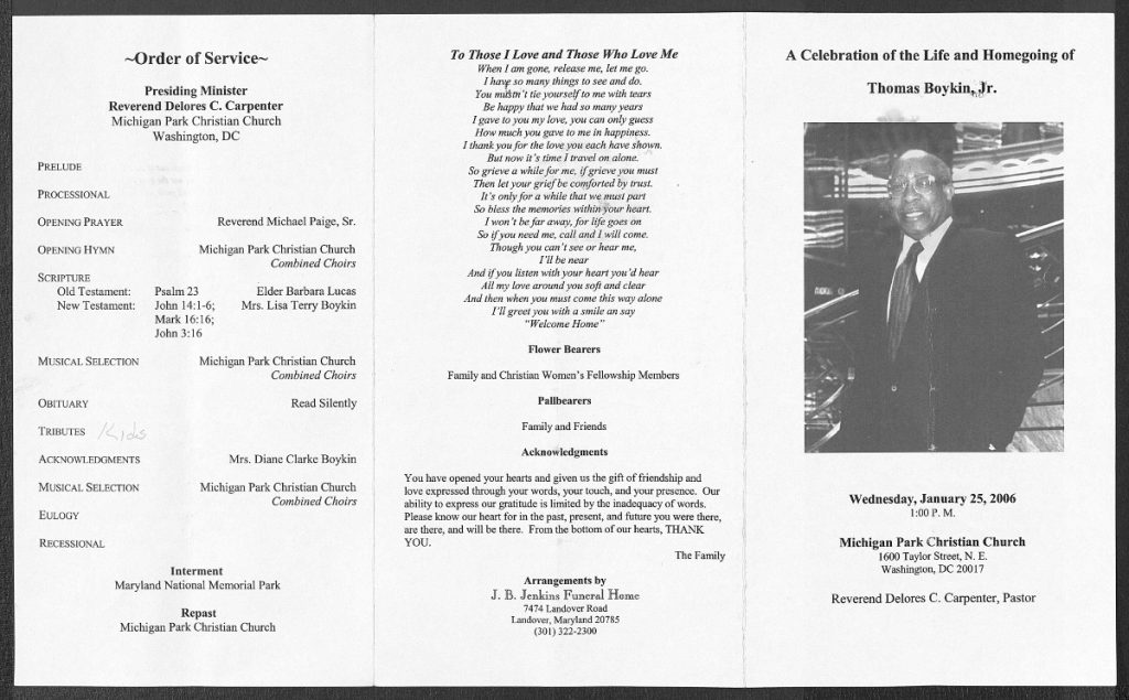 Funeral Program of Thomas Boykin, Jr.