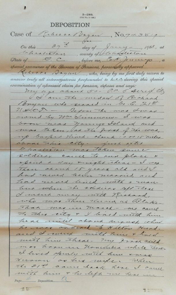 Testimony of Rebecca Bryan, Widow of Richard Bryan, USCT Pension File