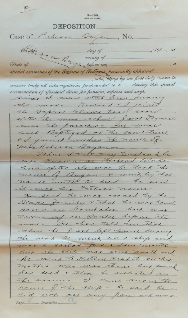 Testimony of Rebecca Bryan, Widow of Richard Bryan, USCT Pension File. National Archives and Records Administration, USCT Pension File of Richard Bryan, Invalid Pension Application #920400, Pension Certificate #549324
