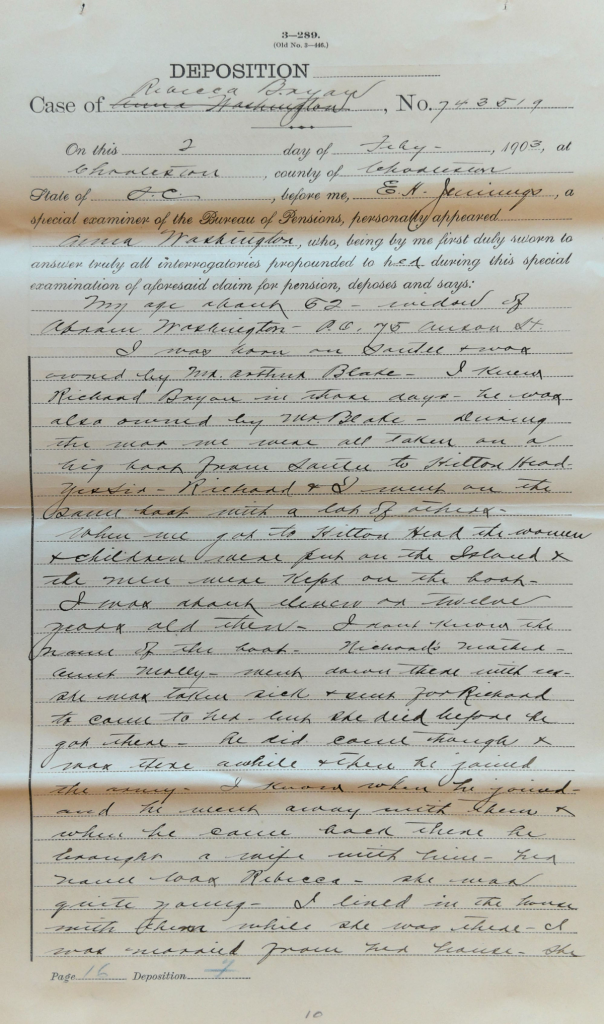 Testimony of Anna Washington in Pension File of Richard Bryan, USCT Pension File. National Archives and Records Administration, USCT Pension File of Richard Bryan, Invalid Pension Application #920400, Pension Certificate #549324