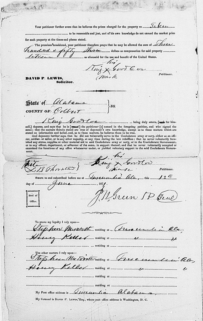 Alabama, Southern Claims Commission Approved Claims, 1871-1880, database with images, citing Southern Claims Commission Approved Claims, M2062, 1871-1880, Entry for King Goodloe.