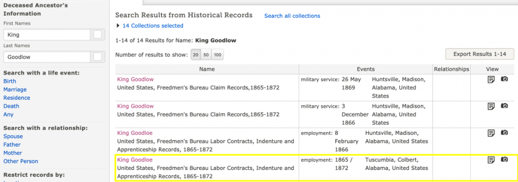 Search Results for King Goodlow in Freedmen's Bureau Records