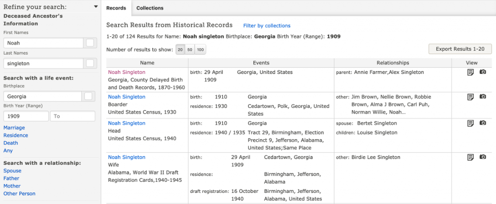 FamilySearch Search Results for Noah Singleton b. 1909 in Georgia