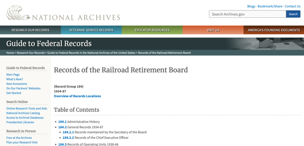 National Archives and Records Administration, Guide to Federal Records, Overview of RG 184, Records of the Railroad Retirement Board