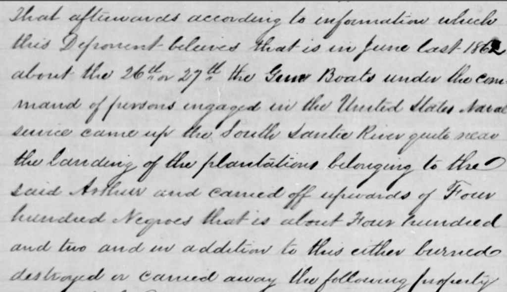 Excerpt, Arthur Blake Confederate Citizens File