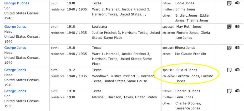 Search Results George Jones in 1940 Census