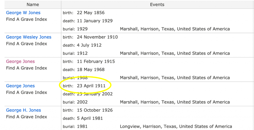Search Results, George Jones in Find A Grave Index