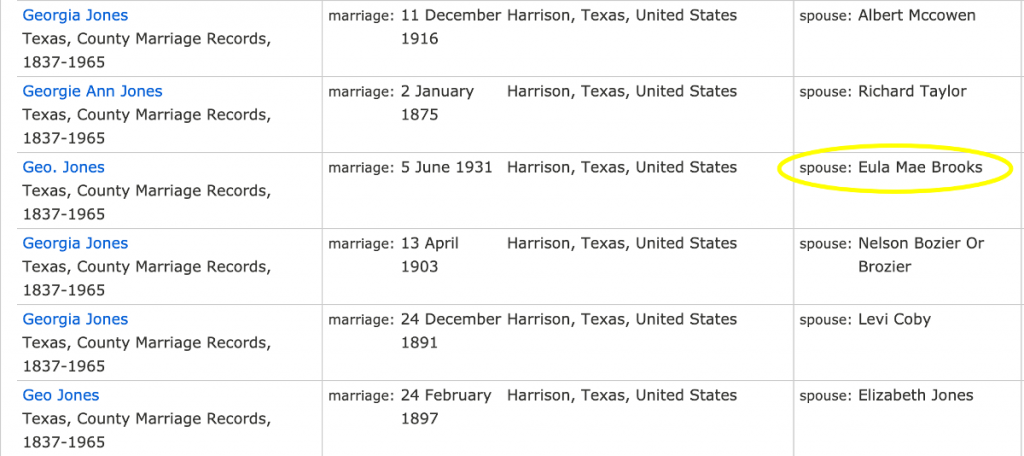 Search Results for George Jones in Texas, County Marriage Records, 1837-1965