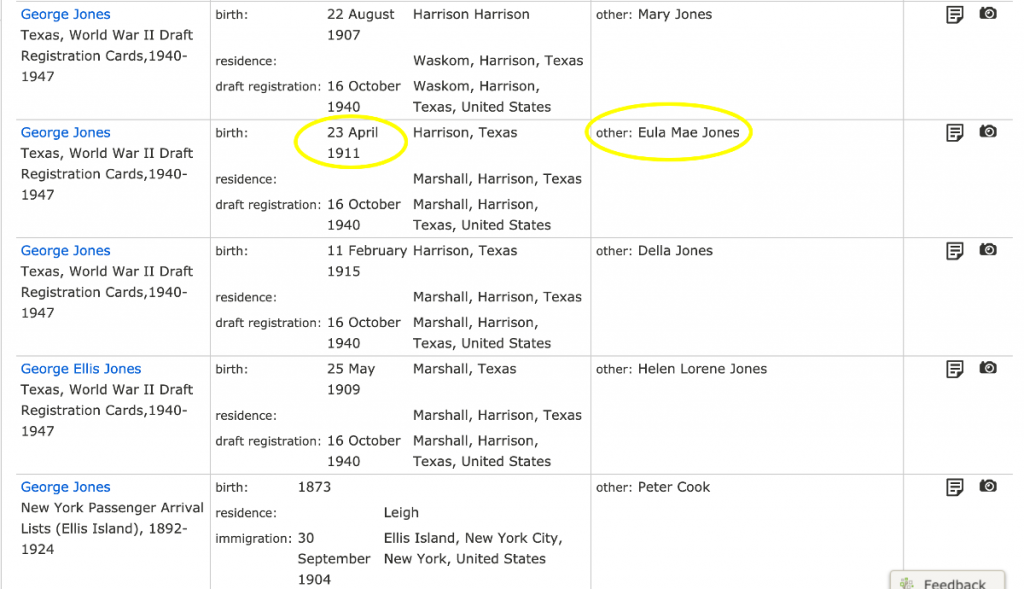 Search Results, George Jones in WWII Draft Registrations, Harrison County, Texas