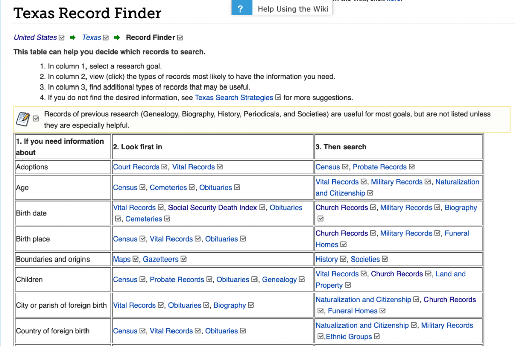 Texas Record Finder FamilySearch Wiki