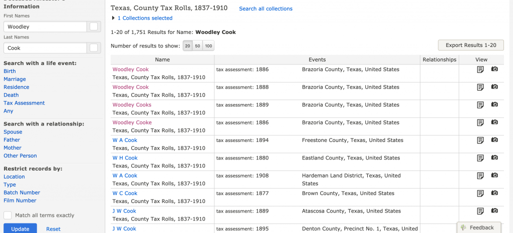 Search Results for Woodley Cook in Brazoria TX Tax Rolls