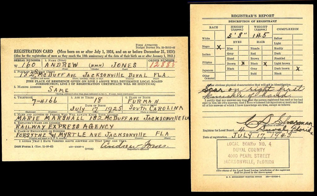Andrew Jones World War II Draft Registration, Duval, FL