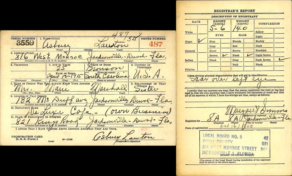 Asbury Lawton World War II Draft Registration, Duval, FL