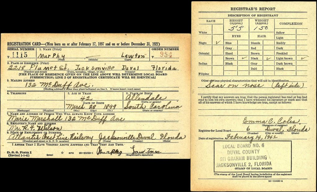 Murphey Lawton World War II Draft Registration, Duval, FL