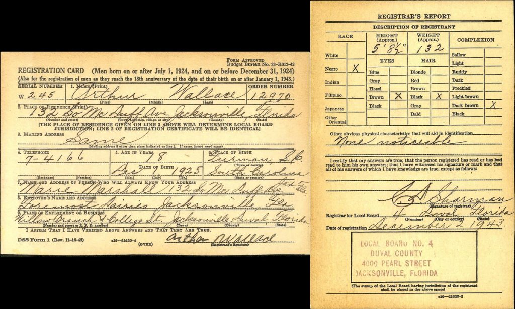 Arthur Wallace World War II Draft Registration, Duval FL