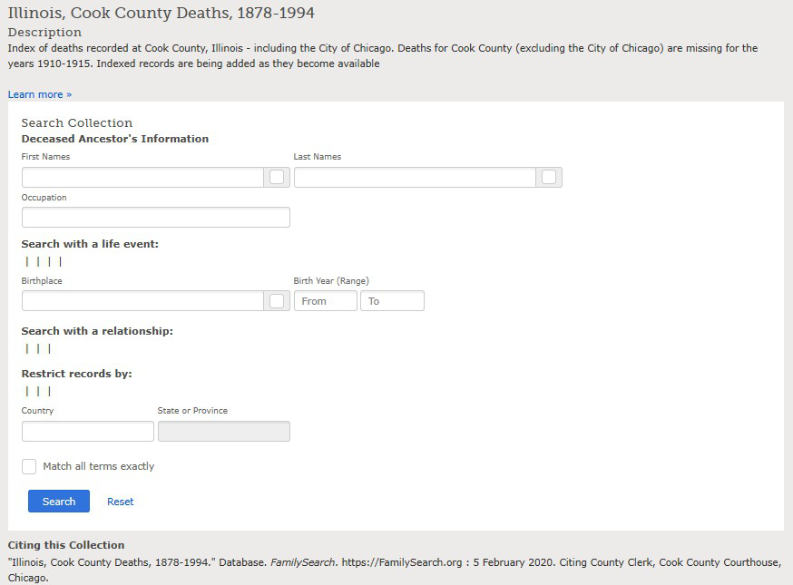 Illinois, Cook County Deaths, 1878-1994