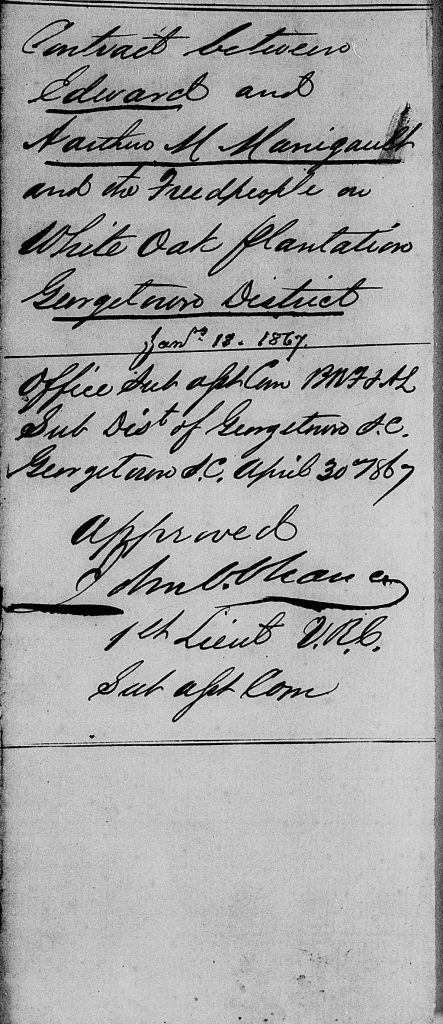 Freedmen's Labor Contract, Kingsale and Bella Pringle with Edward and Arthur M. Manigault