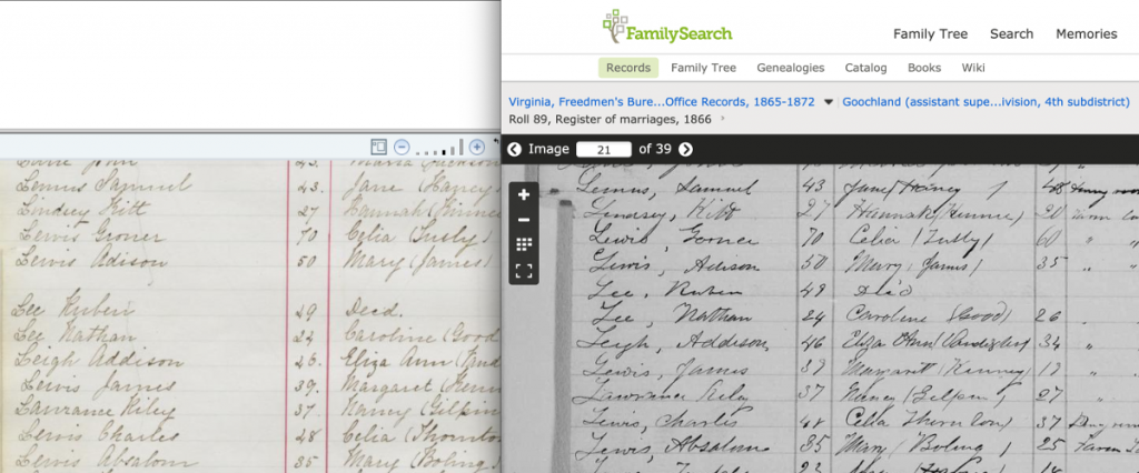Line by Line Comparison, Freedmen's Bureau Marriage Registers and Virginia Cohabitation Registers
