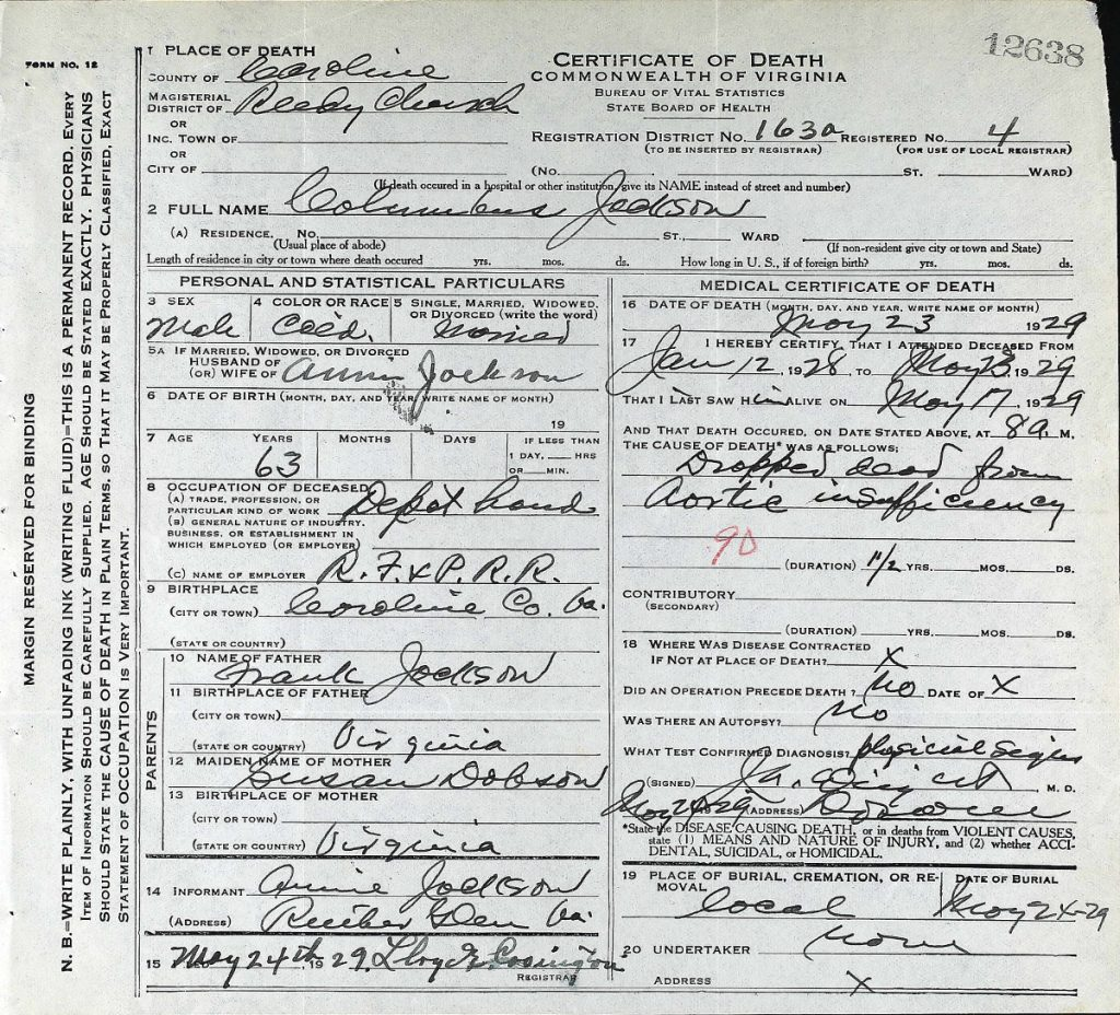 Virginia Jackson Columbus Death Cert