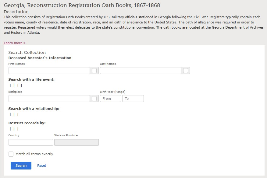 Georgia Reconstruction Oath Books, 1867-1868 Search Page