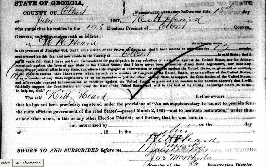 Did Your African American Ancestor Register to Vote in Georgia, Reconstruction Oath Books, 1867-1868?