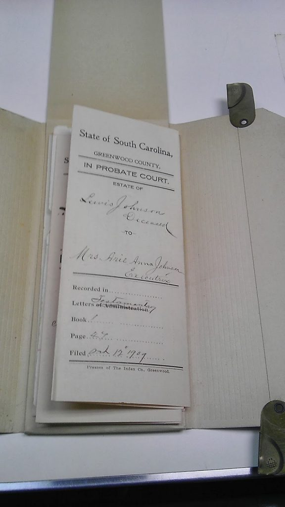 Lewis Johnson will (1909), Greenwood County Estate Packet 64 -6, Probate Records Office, Greenwood, South Carolina