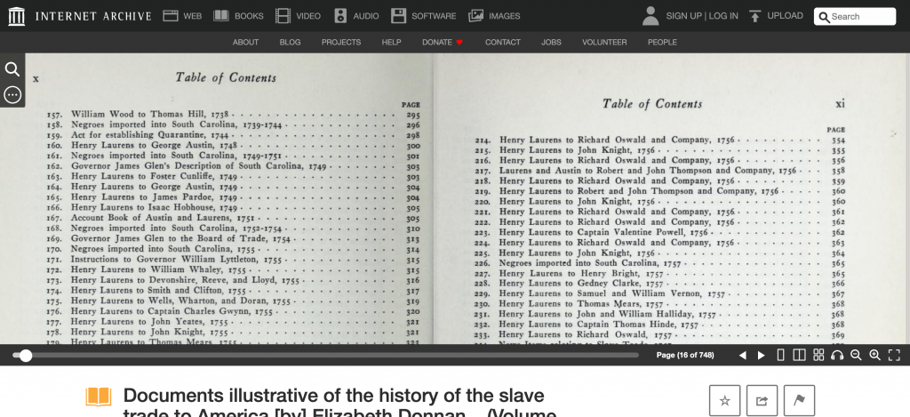 Documents Illustrative of the History of The Slave Trade to America