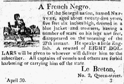 Runaway Slave Advertisement for a Slave from Senegal